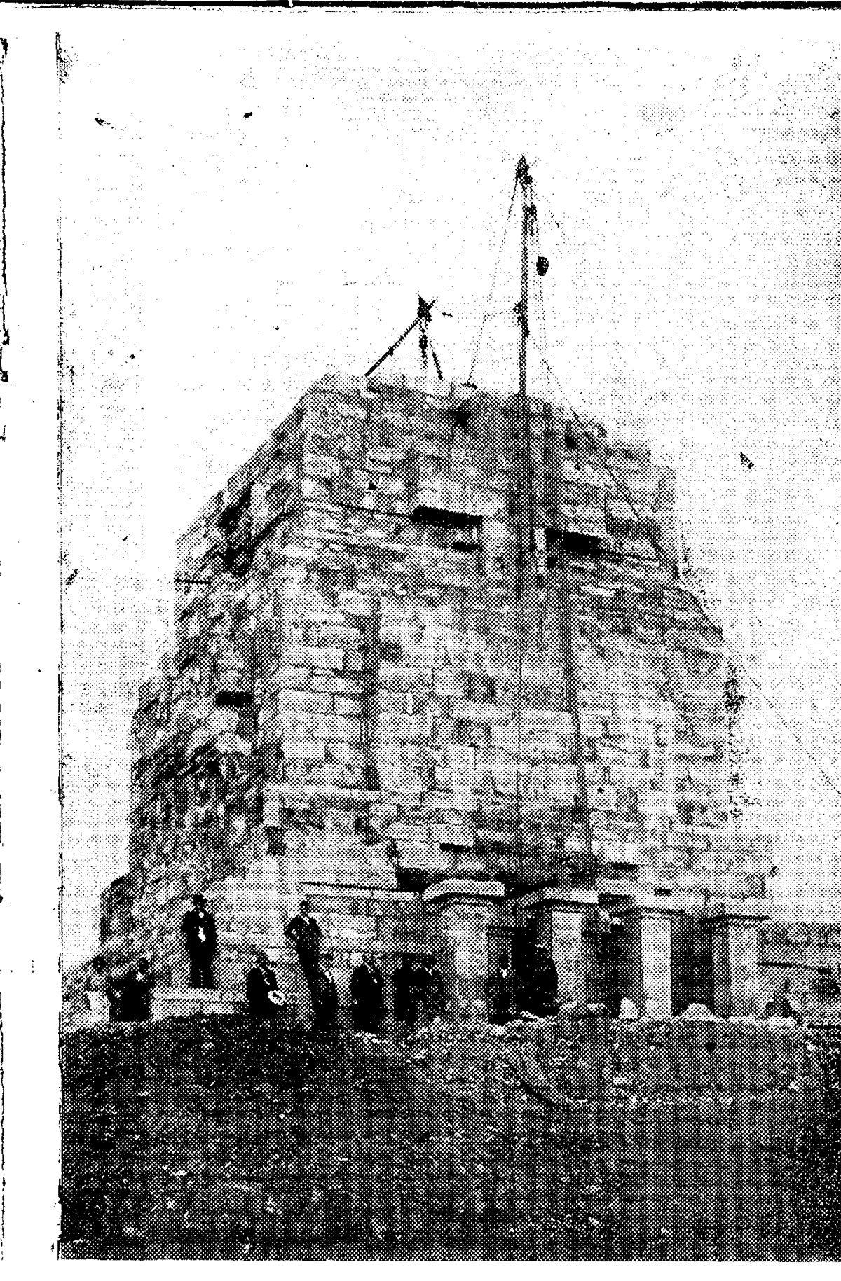 Trabajos de construcción del monumento, en septiembre de 1925