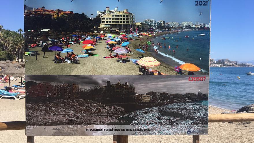 Benalmádena fotografía el posible futuro de sus playas para concienciar sobre el cambio climático