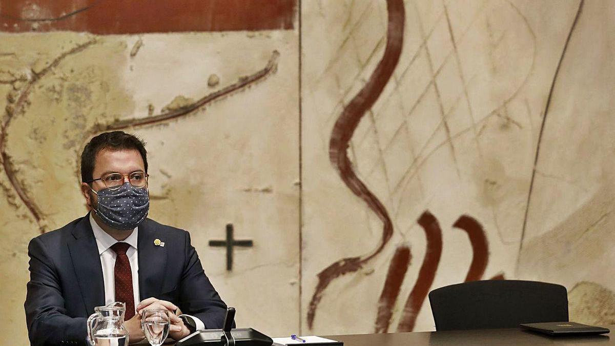 Pere Aragonès, en la primera reunión del Consejo Ejecutivo.