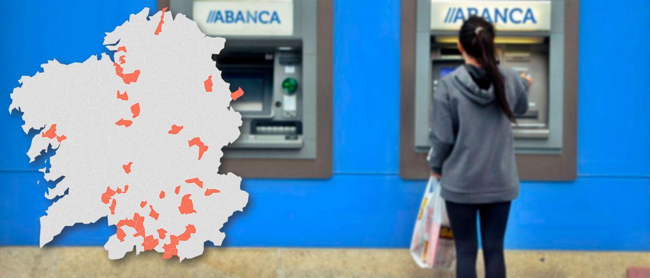 Una usuaria en un cajero automático de Abanca.
