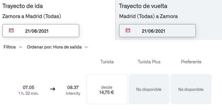Horario tren madrugador Zamora-Madrid