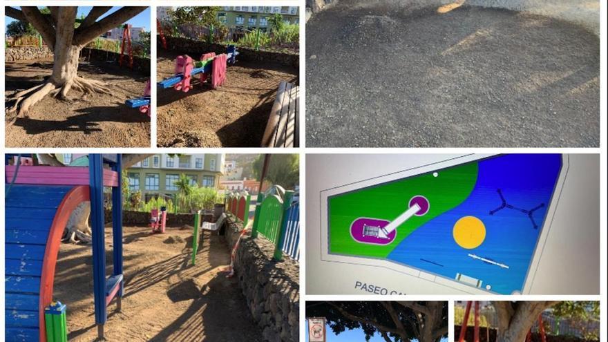 Icod cambia el pavimento de cinco parques infantiles