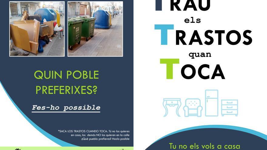 'Trau els Trastos quan Toca', la campaña de concienciación sobre la recogida de inservibles en Bonrepòs