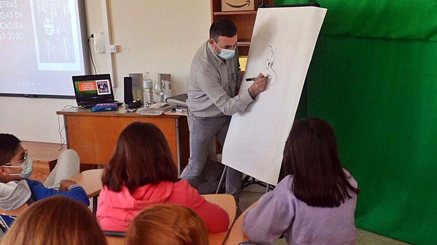 Heitor Picallo sorprende a los alumnos de 5º del colegio Arealonga