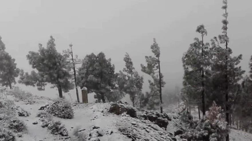 La nieve llega a la cumbre de Gran Canaria