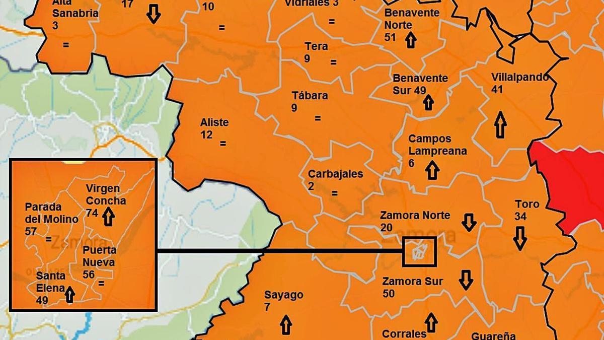 Mapa de incidencia del COVID en la última semana.