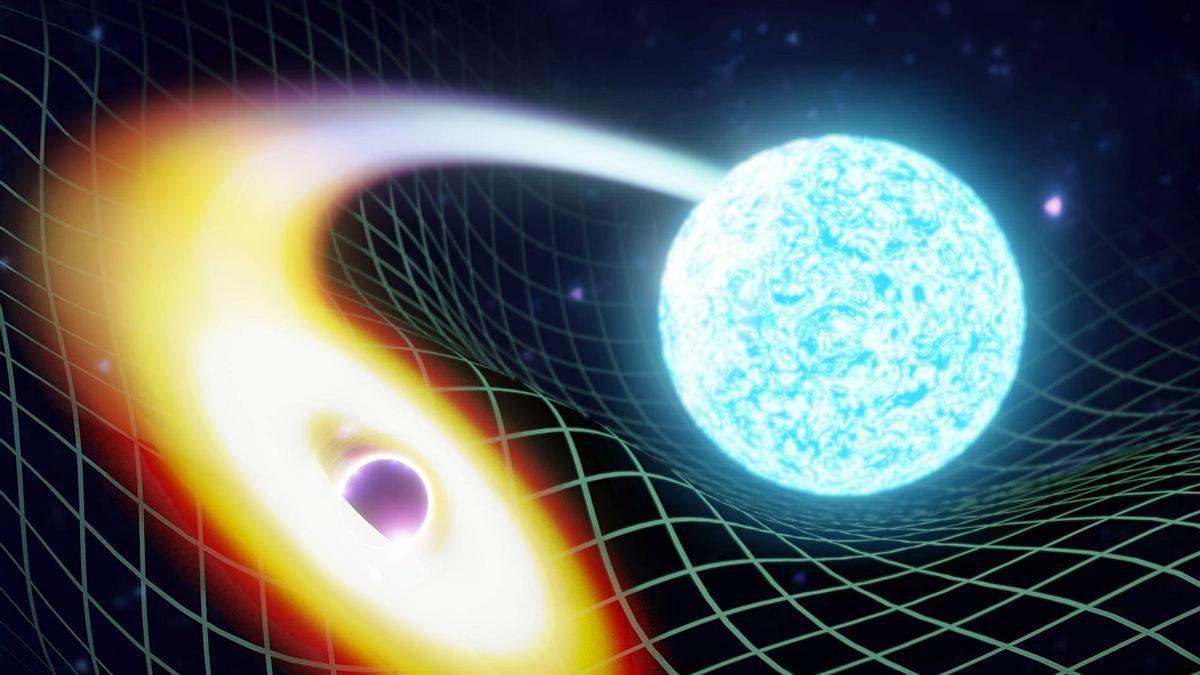 Recreación artística de la fusión de un agujero negro y una estrella de neutrones.