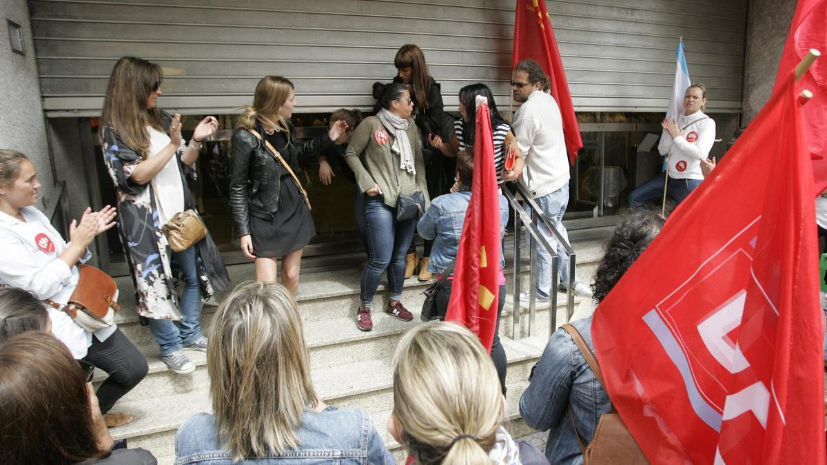 Piquete informativo durante una huelga.