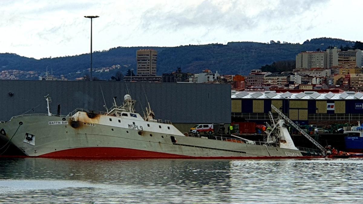 Estado actual del Buffin Bay este viernes en el puerto de Vigo.