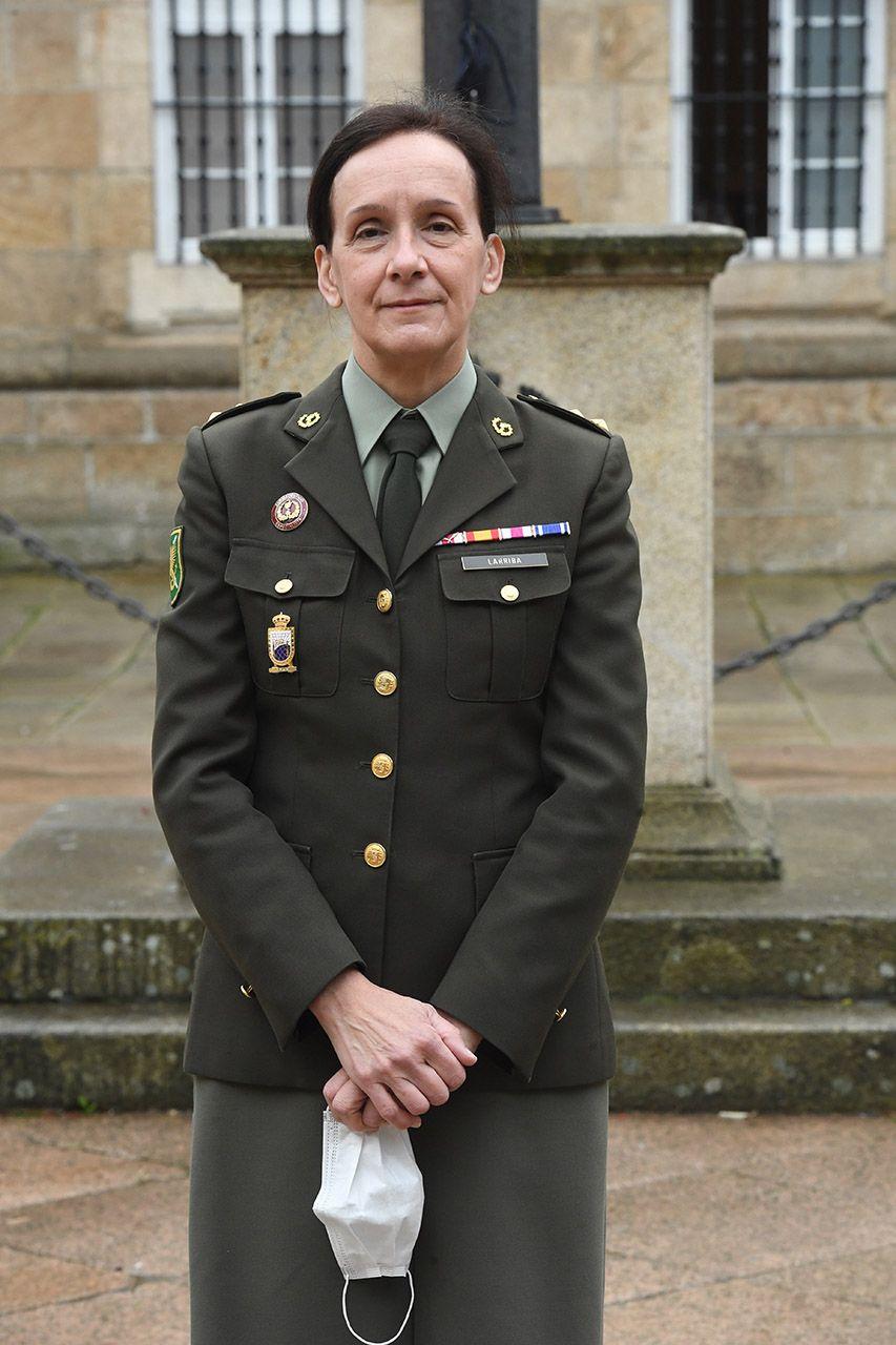 La teniente coronel Cristina Larriba en el Palacio de Capitanía de A Coruña