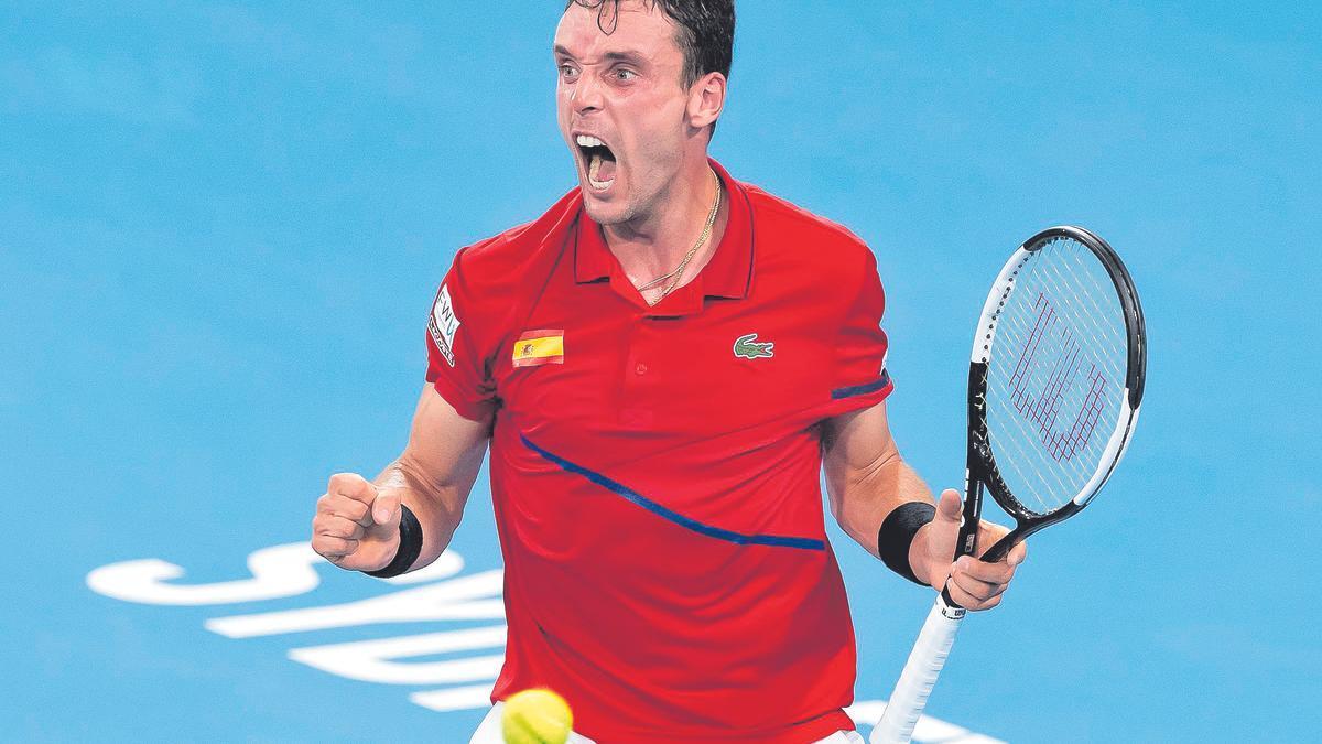 Roberto Bautista, durante un encuentro de la Copa Davis con España.