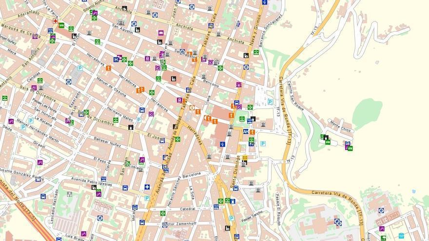 Mapa callejero del centro de San Cristóbal de La Laguna