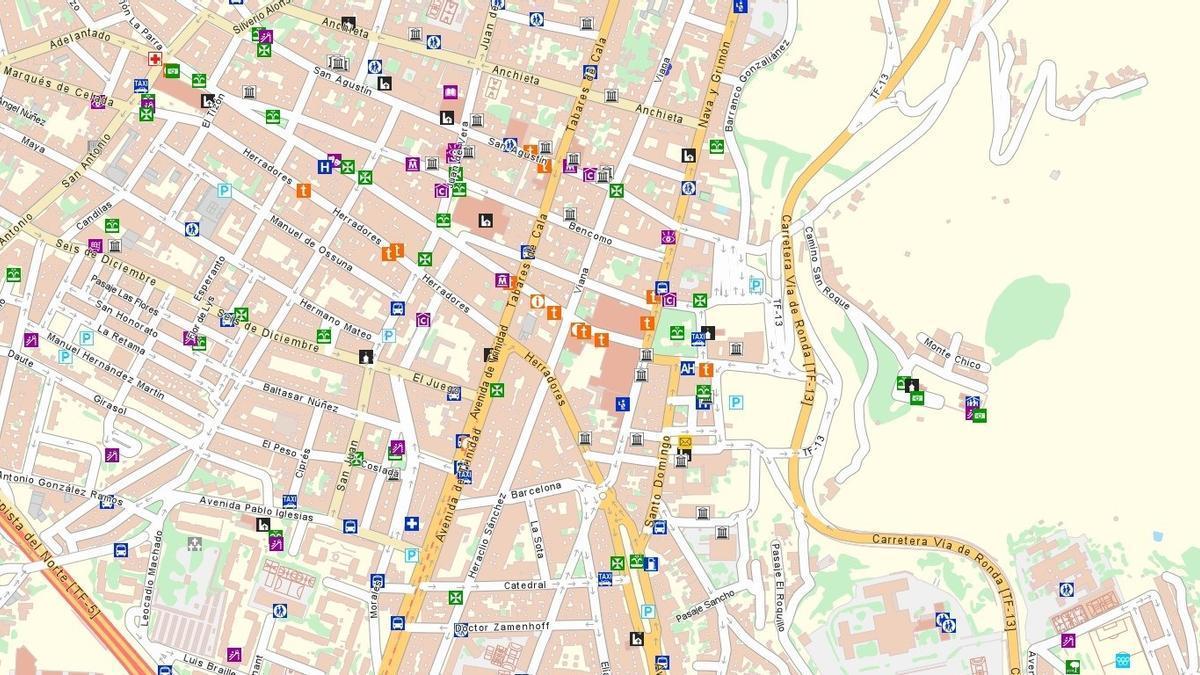 Mapa callejero del centro de San Cristóbal de La Laguna.