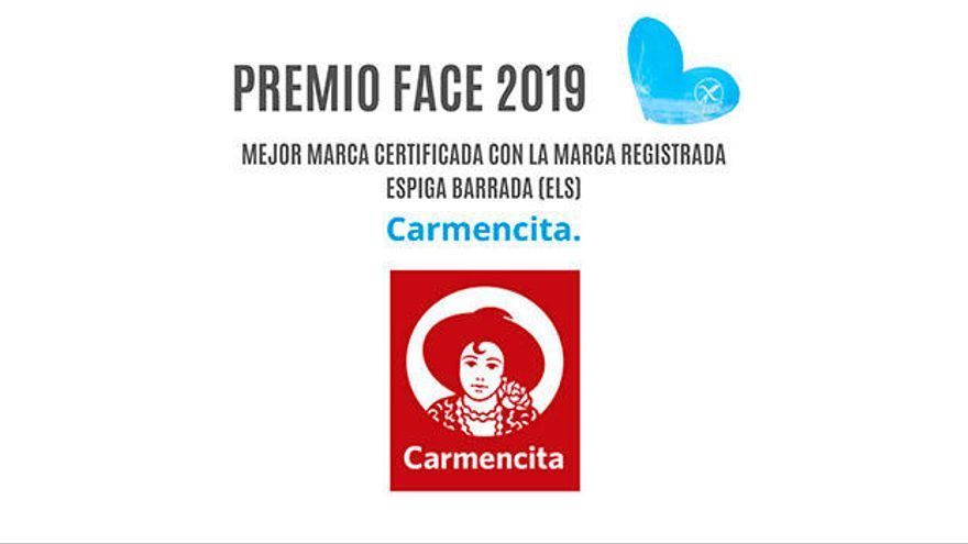 La empresa CARMENCITA (Jesús Navarro, S. A.) recibe el PREMIO FACE 2019 por votación popular, como mejor marca certificada con la Marca Registrada Espiga Barrada (ELS).