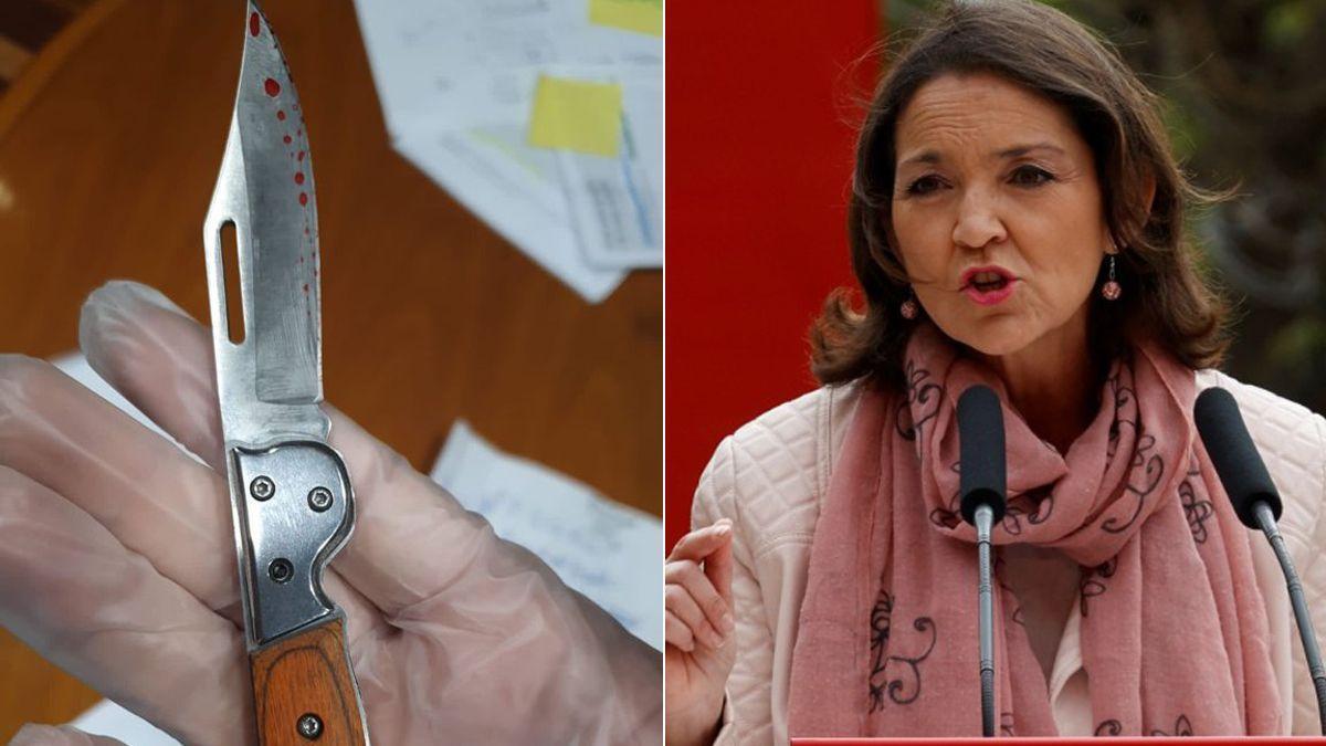 La ministra Reyes Maroto y la navaja ensangrentada que ha recibido.