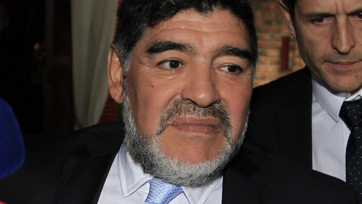Diego Armando Maradona, en una de sus últimas visitas a nuestro país