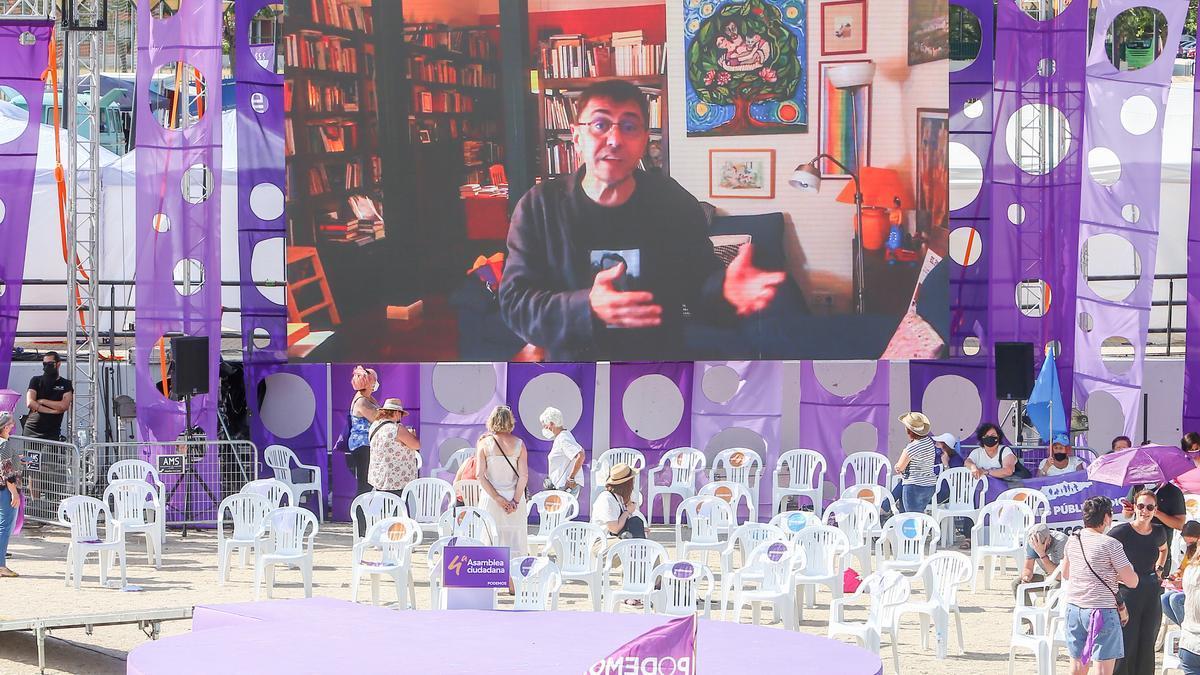 Juan Carlos Monedero interviene por vídeo en la Asamblea de Podemos