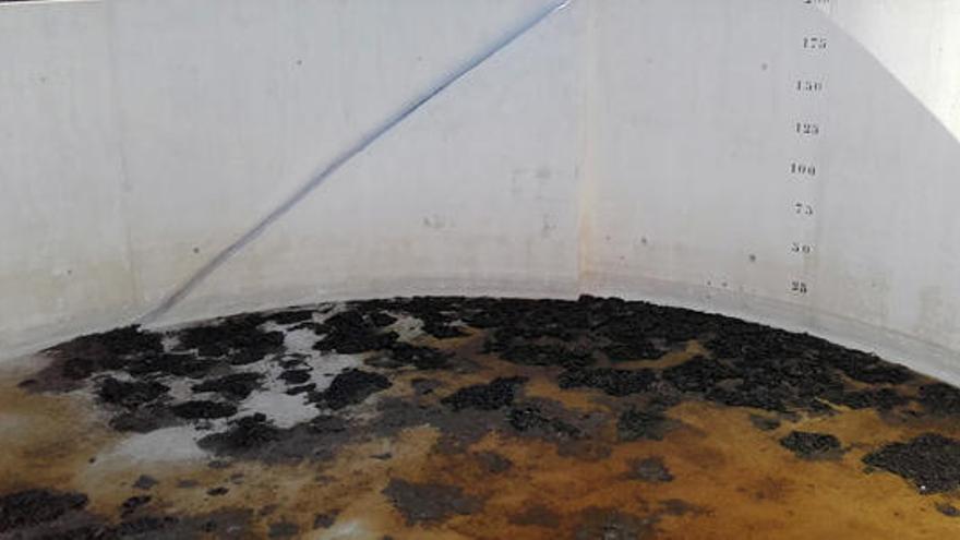 La balsa de extinción de la Penya Roja de Pego, vacía y  sin uso durante todo el verano