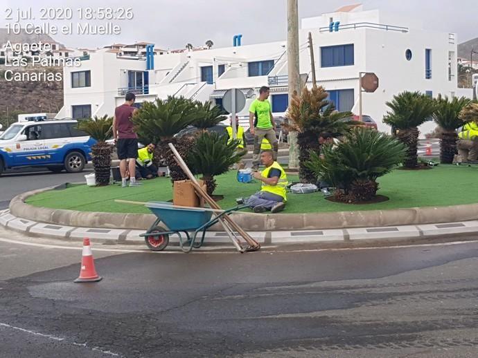 Inauguración de la primer rotonda con iluminación Led de Canarias en Agaete