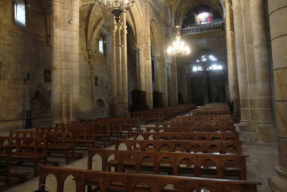 El obispo, Leonardo Lemos, ayer celebrando la ceremonia en la Catedral de Ourense sin gente. // Iñaki Osorio