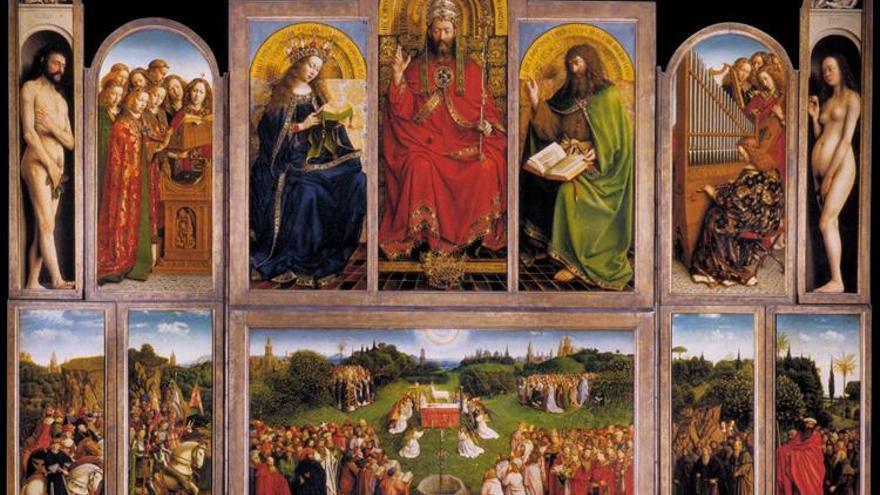 La 'Adoración del Cordero Místico', firma de los Van Eyck
