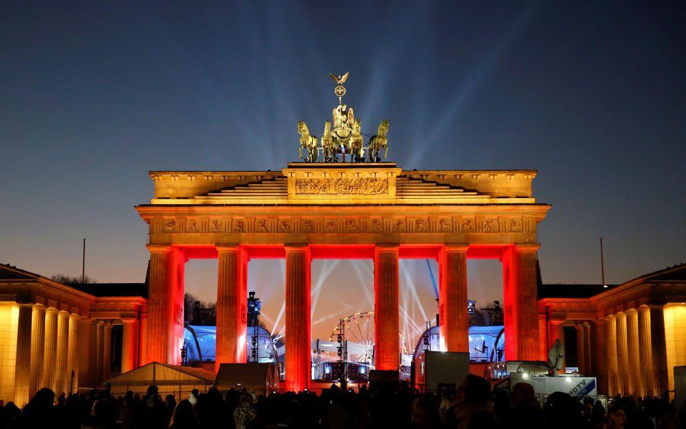 Iluminación de Fin de Año en la Puerta de Branderburgo.