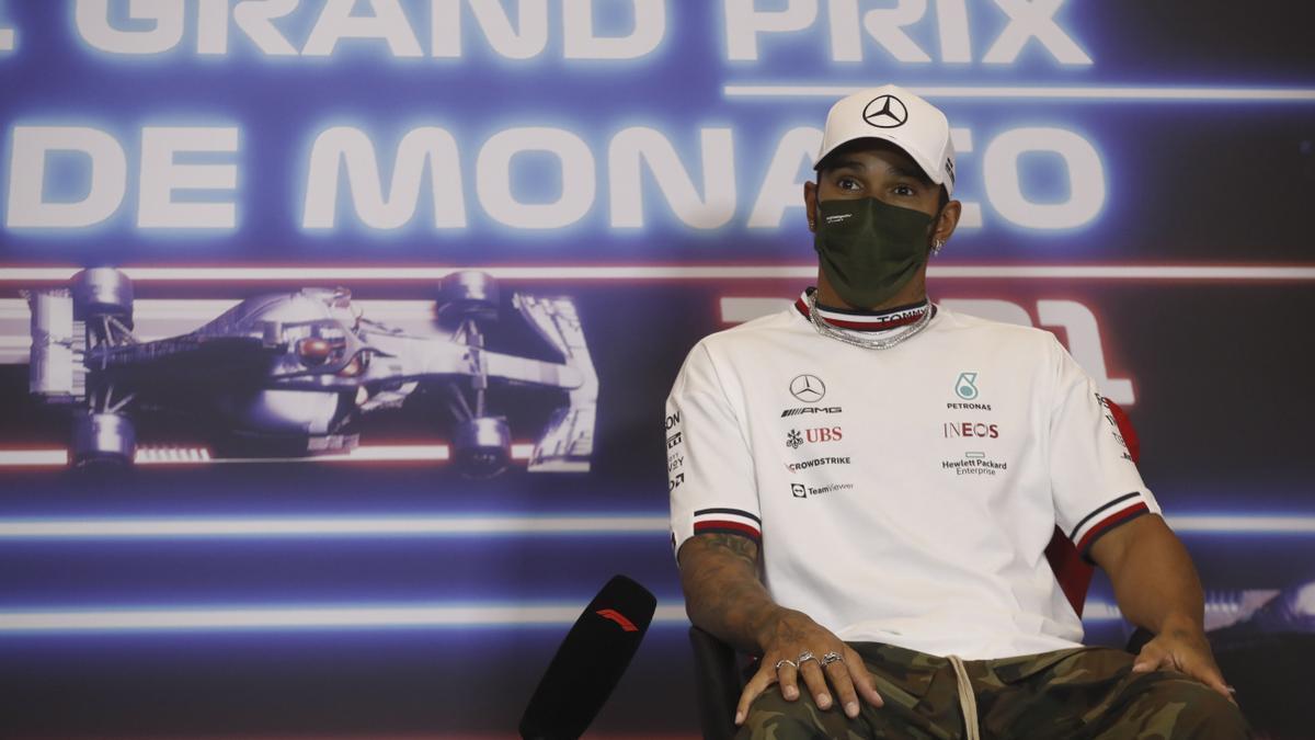 Lewis Hamilton, en la rueda de prensa de presentación del Gran Premio de Mónaco