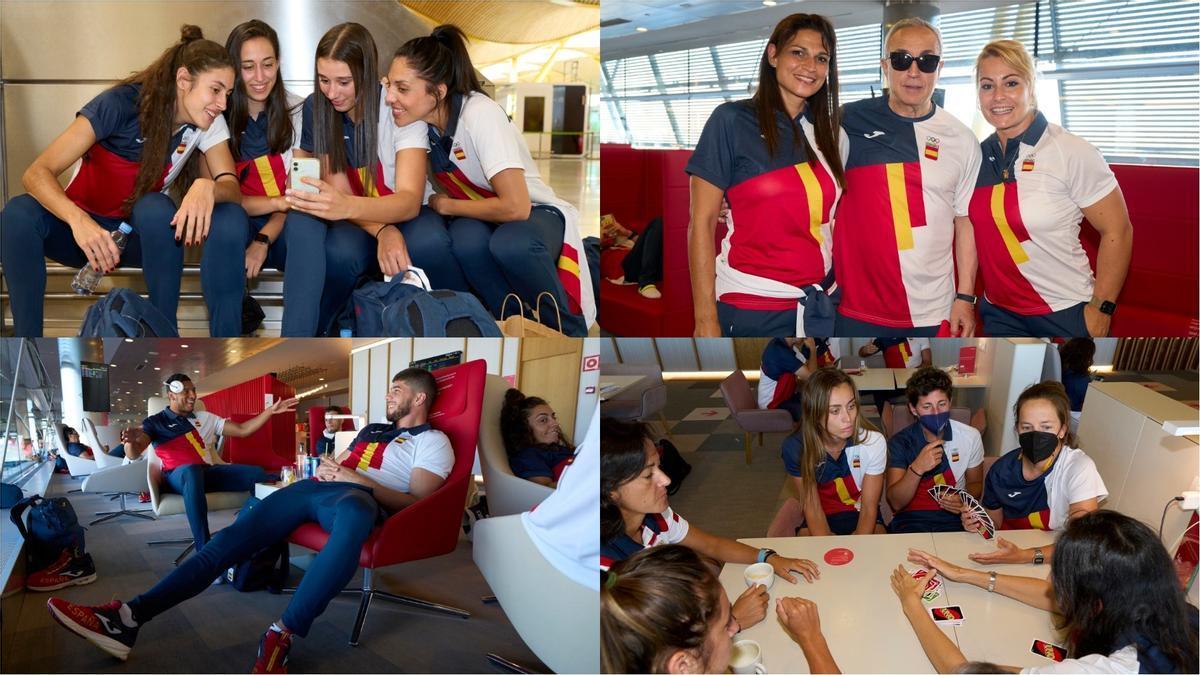 El equipo olímpico español, antes de su salida hacia Tokio.