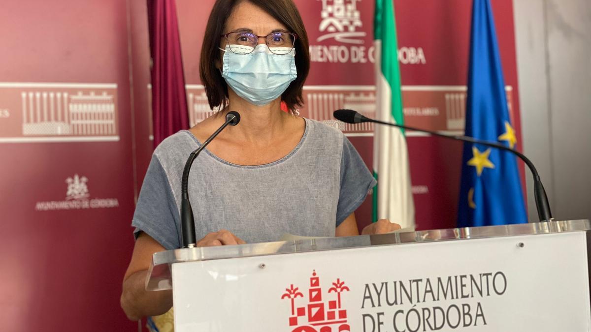La viceportavoz de IU, Amparo Pernichi, en su comparecencia de hoy.