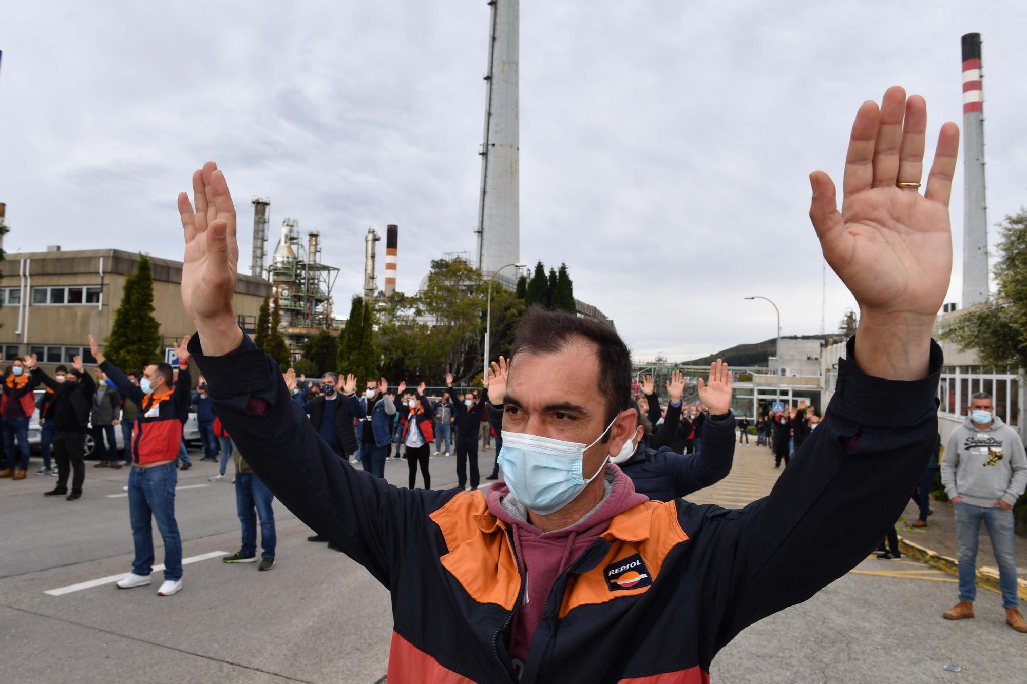Manifestación de trabajadores de la refinería