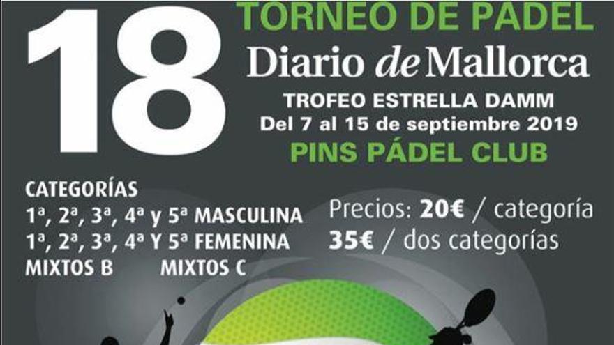Abierto el plazo de inscripción para el 18º Torneo de Pádel Diario de Mallorca