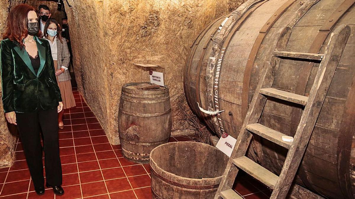 La consejera de Empleo e Industria, Ana Carlota Amigo, visita el Museo del Vino de Valdevimbre.