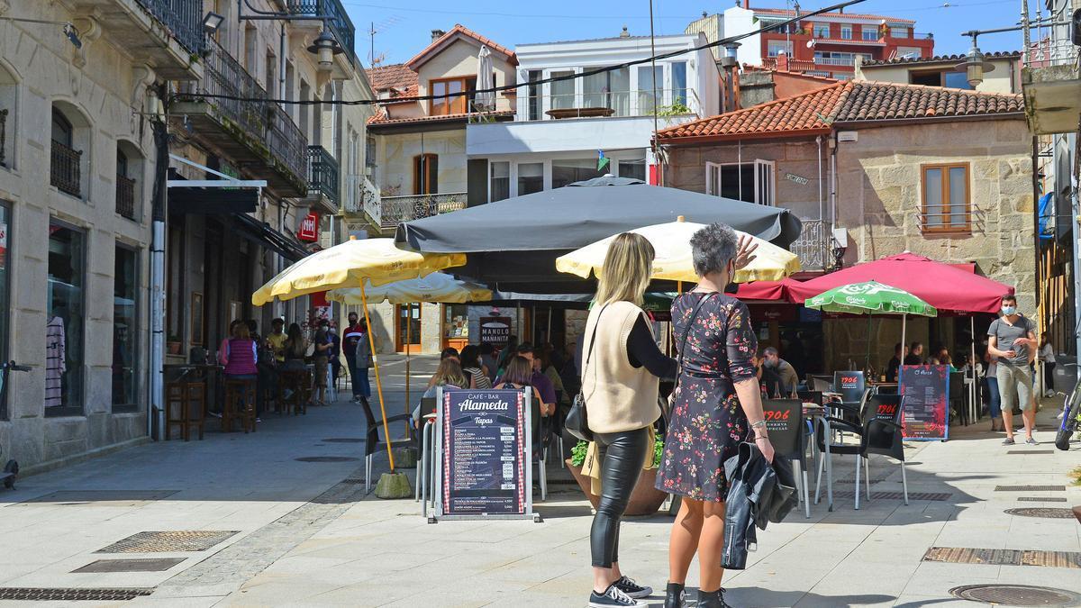 Terrazas de hostelería en Cangas.