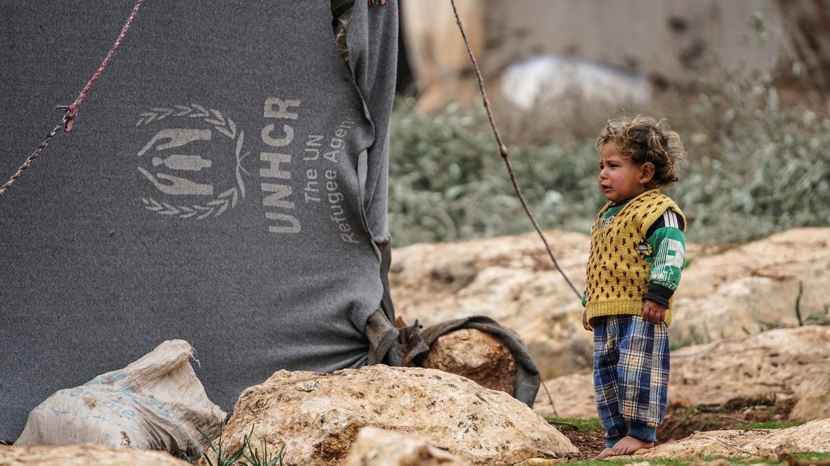 Un menor en un campamento de refugiados en Idlib, Siria.