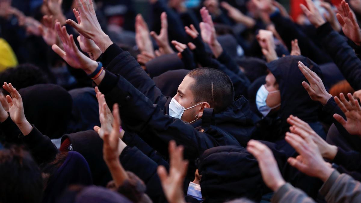 Manifestación en favor de Pablo Hasél en Madrid