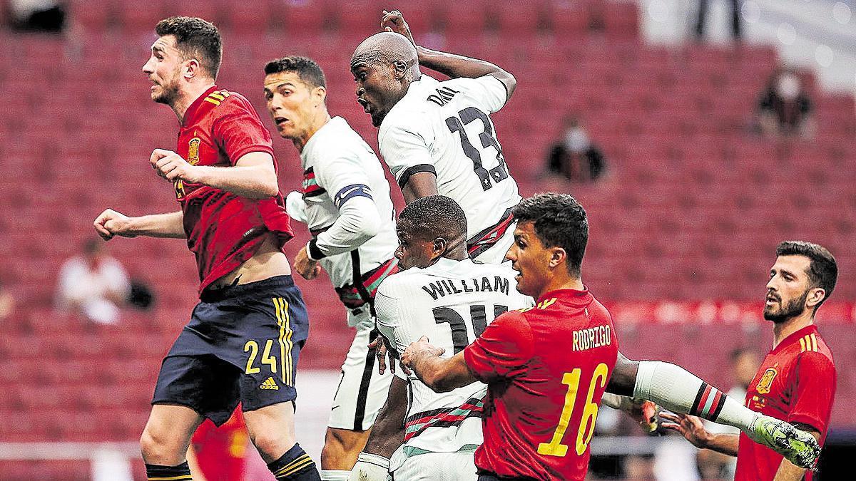 Una imagen del partido amistoso España-Portugal.