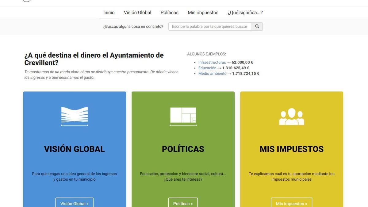 """Captura de pantalla de la página web """"Con mis impuestos"""" del Ayuntamiento de Crevillent"""