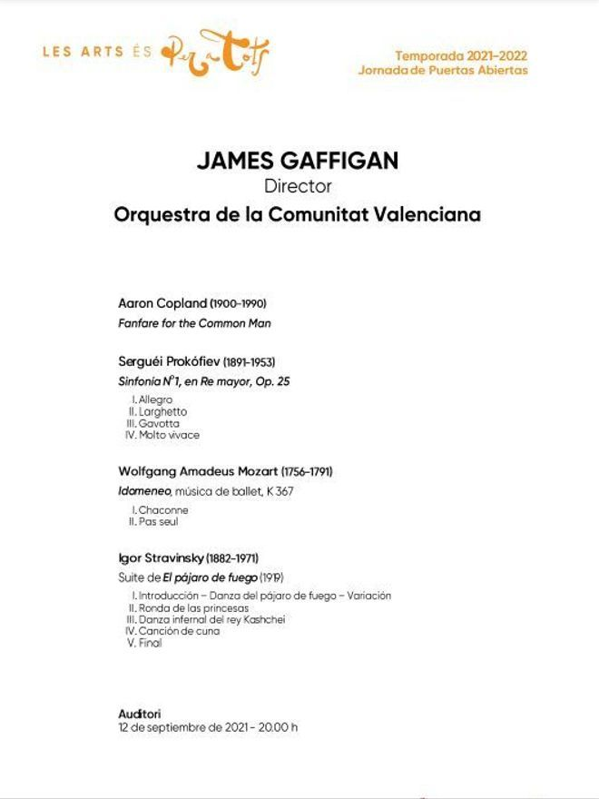 Programa del concierto de la Orquestra de la Comunitat Valenciana durante la Jornada de Puertas Abiertas.