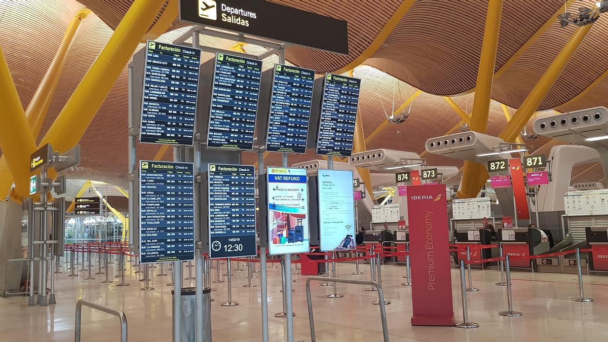 Pantallas del aeropuerto Adolfo Suárez Madrid-Barajas.
