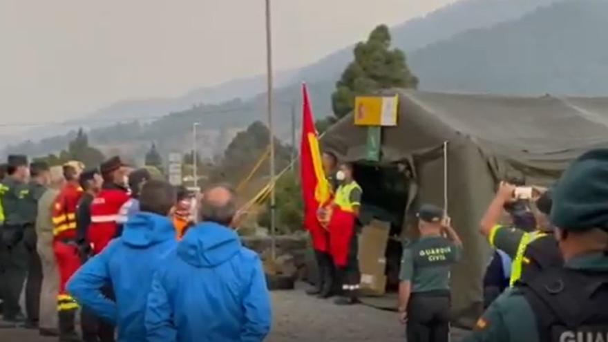 Celebración del 12 de octubre en el puesto de mando avanzado de La Palma