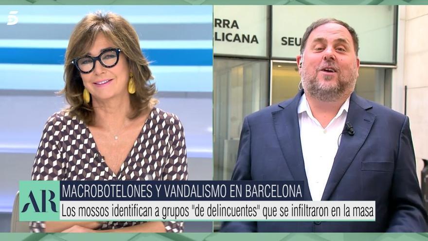 """Ana Rosa afirma que Oriol Junqueras se """"resiste"""" a visitar su plató: """"Usted ya está invitado"""""""