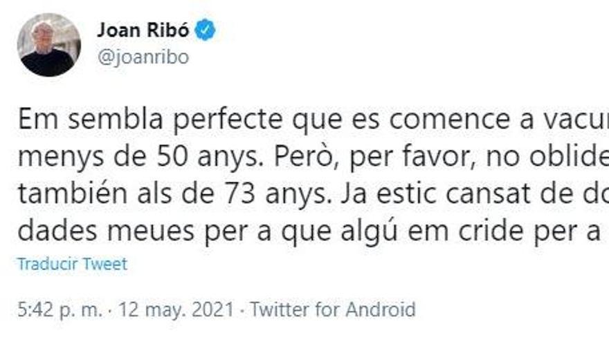 Ribó reclama que lo vacunen contra el coronavirus