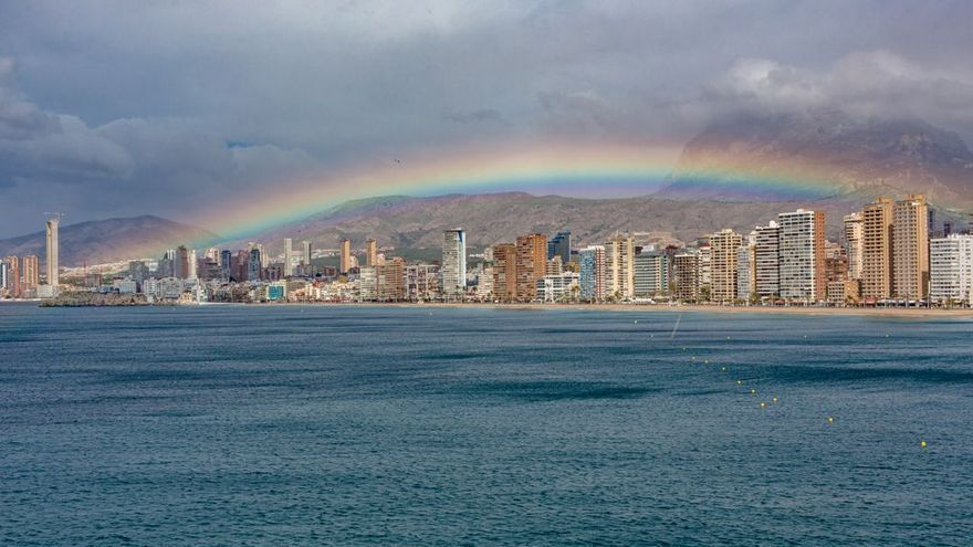 And after the storm always comes calm and ... The rainbow.  This postcard image was registered in Benidorm.