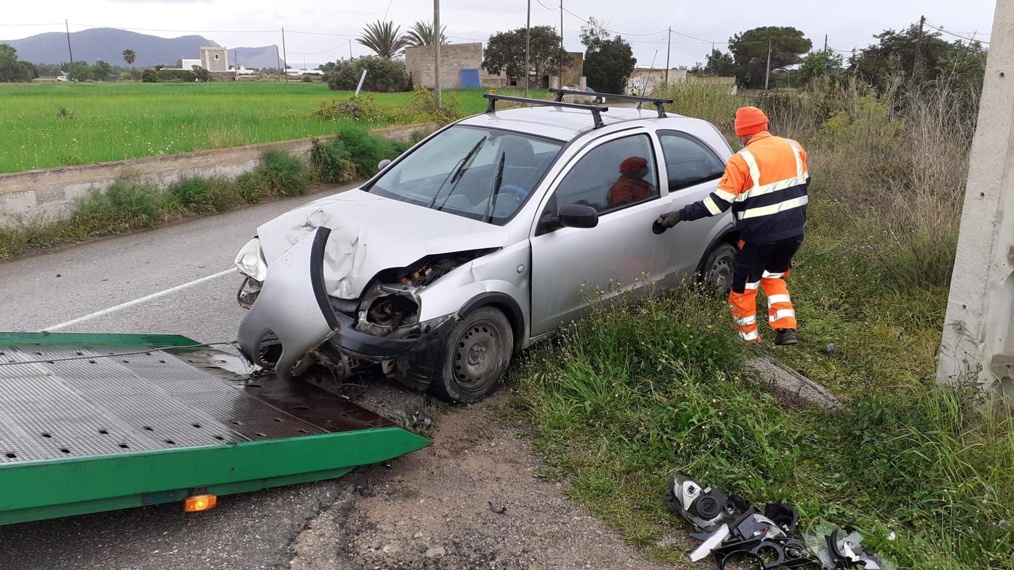 Día de accidentes en Ibiza a causa de la lluvia