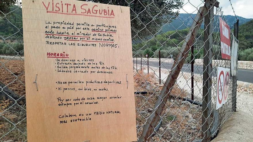 El expresidente Cañellas limita en su  finca de Bunyola el acceso a la cima de sa Gubia