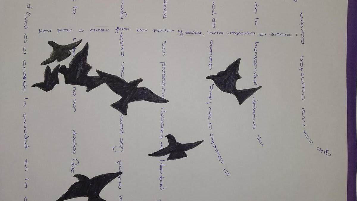 Otro de los trabajos presentados al concurso de caligramas del centro.
