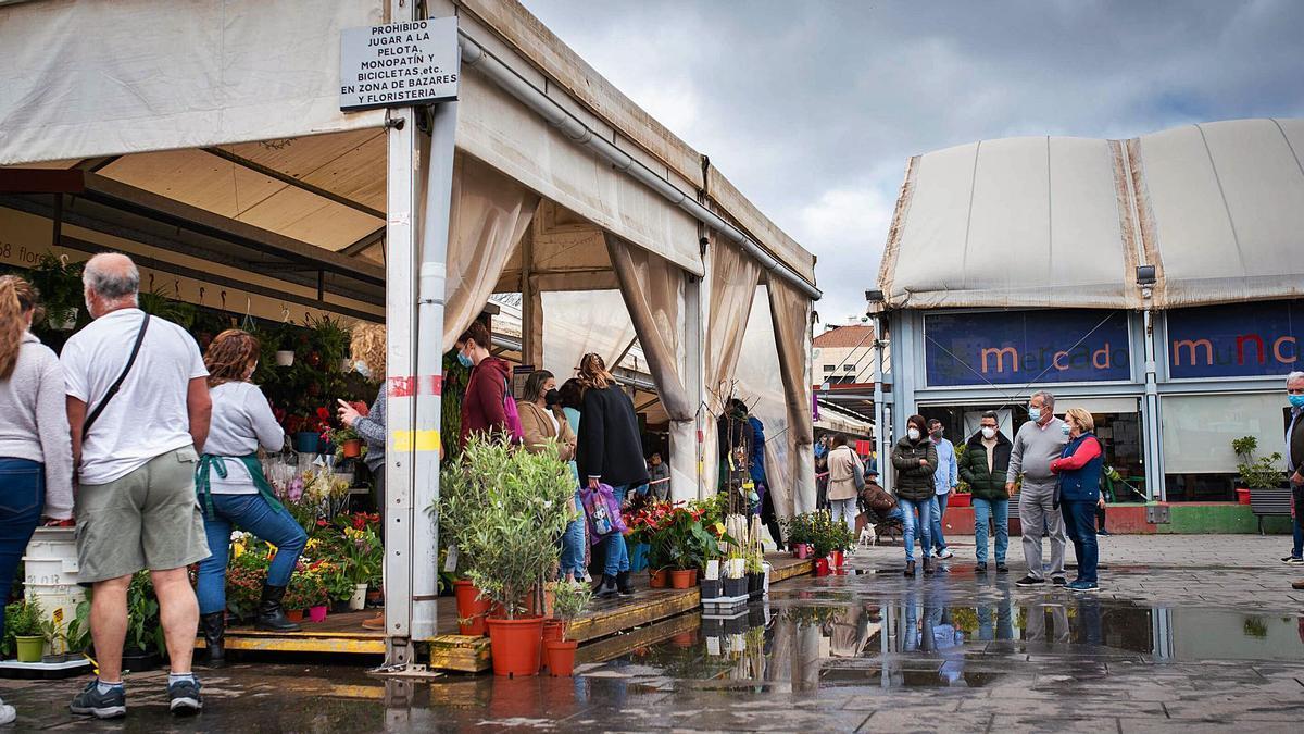 Puestos de flores (izquierda) y estructura principal (derecha) del Mercado provisional de La Laguna en la plaza del Cristo.
