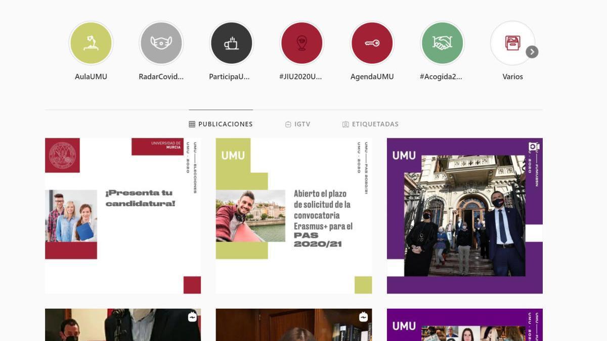 Canal de Instagram de la Universidad de Murcia