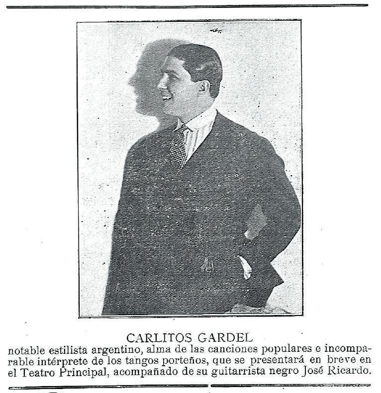 Arriba, anuncio del Teatro Principal con el concierto de Gardel. A la derecha, detalle y página de l Heraldo de Zamora con la actuación del argentino. | |  L. O. Z.