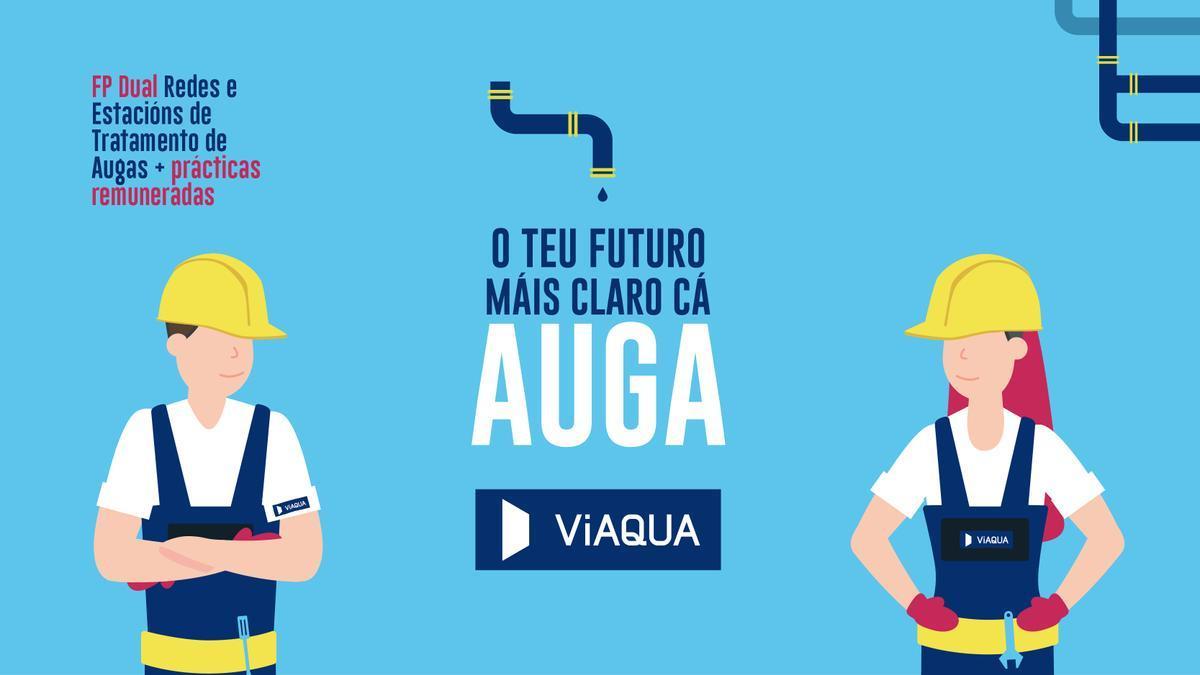 Viaqua lanza unha campaña de comunicación para captar alumnado para a FP Dual de Redes e Estacións de Tratamento de Auga.